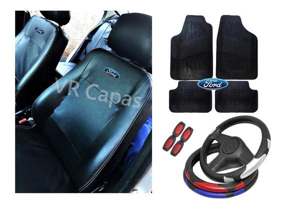 Kit Capas Couro Banco Carro Tapetes Ford Fiesta Sedan