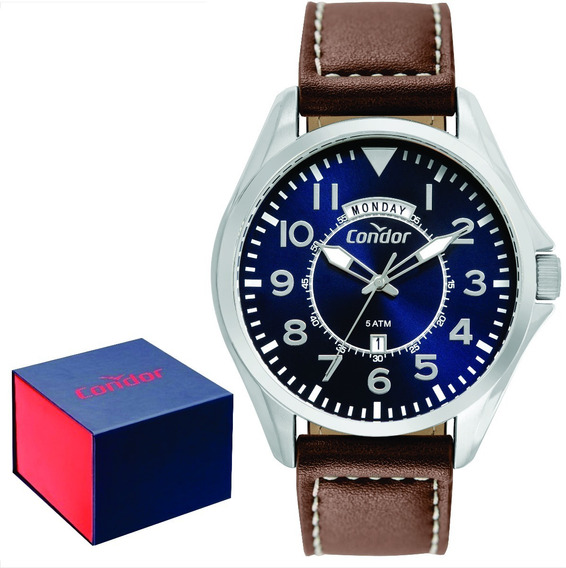Relógio Condor Masculino Couro Covj45ab/2a + Brinde Carteira