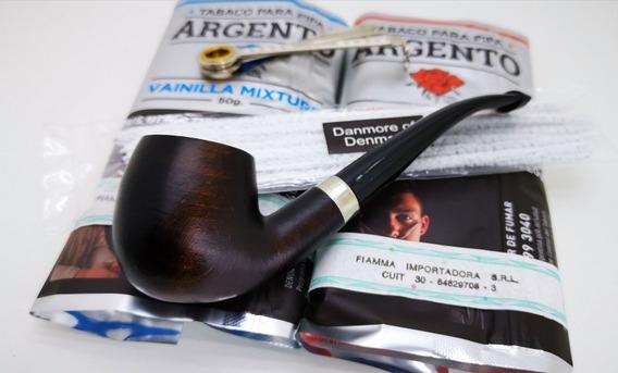 Kit Pipa Inicial Pipa De Madera Con Tabacos X2 Fumar En Pipa