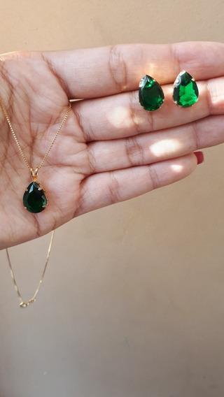 Conjunto Folheado A Ouro Com Gota Fusion Verde Esmeralda