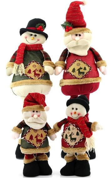 Kit 4 Boneco Neve Papai-noel Festa De Natal Decoração Arvore