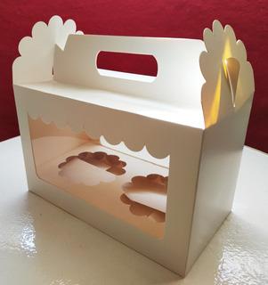 Caja X9 Unidades Cartón Blancas Muffins Cupcakes Souvenir