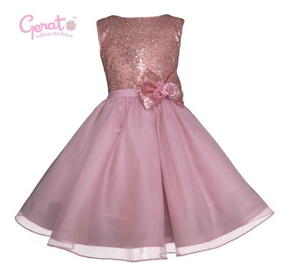 Vestido De Fiesta Para Niña Gerat Color Palo De Rosa