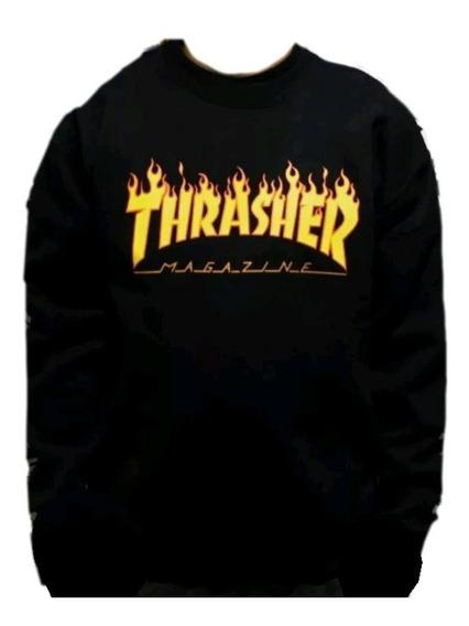 Buzo Básico Thrasher Magazine Flamas Skate Boarding Basico