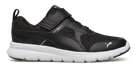 Zapatillas Puma Flex Essential Con Velcro Neg/bla De Niños