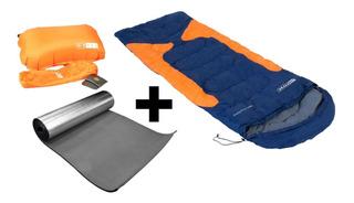 Saco De Dormir Freedom Azul + Isolante + Travesseiro Nauitka
