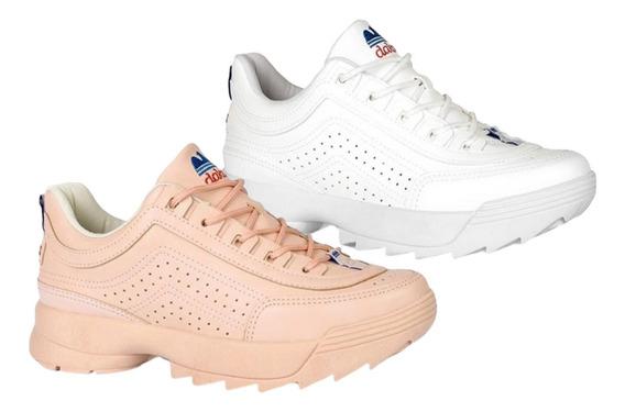 Kit 2 Tênis Chunky Dakota Dad Sneaker Tratorado Branco Rosa