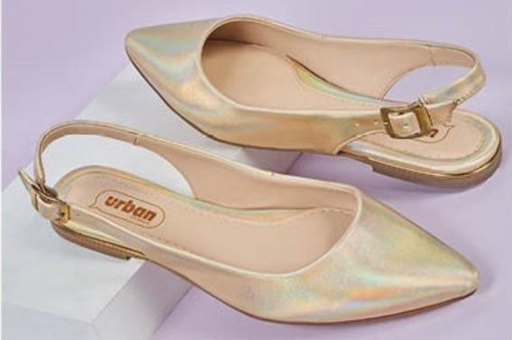 Calzado Zapato Dama Mujer Color Oro Cómodo Suave Tira