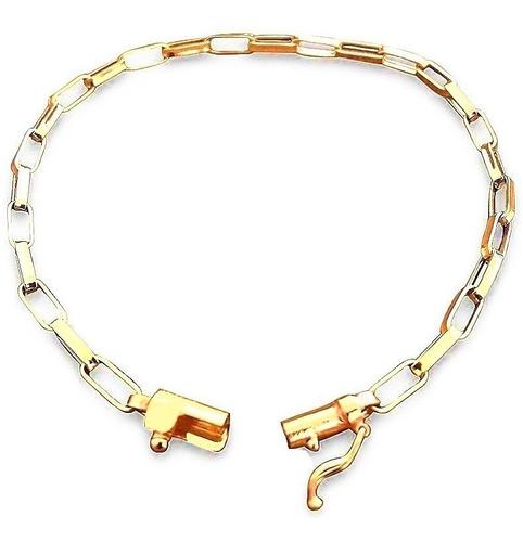 Imagem 1 de 7 de Pulseira Masculina Em Ouro 18k Elo Quadrado 2.6g 21cm+brinde