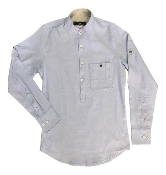 Oferta Camisa Azul Cuello Mao Corte T/playera Marca Polo