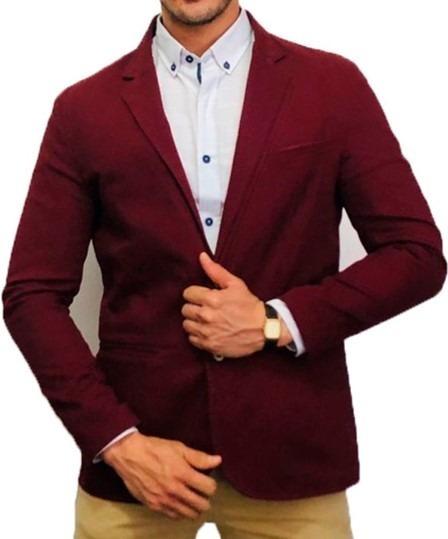 Blazer Saco Para Hombre Color Vino Clásico Peaceful