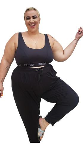 Calça Jogger Plus Size Wonder Size Comfy Preto