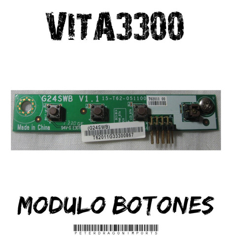 Tarjeta Del Modulo De Botones De Encendido Brillo Vita3300
