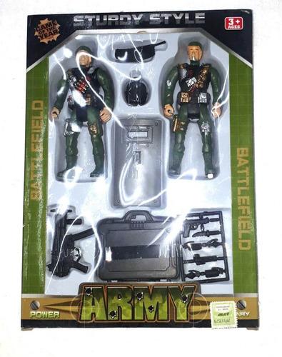 Set Militar 2 Soldados + Accesorios - 5 Soles Cotillón