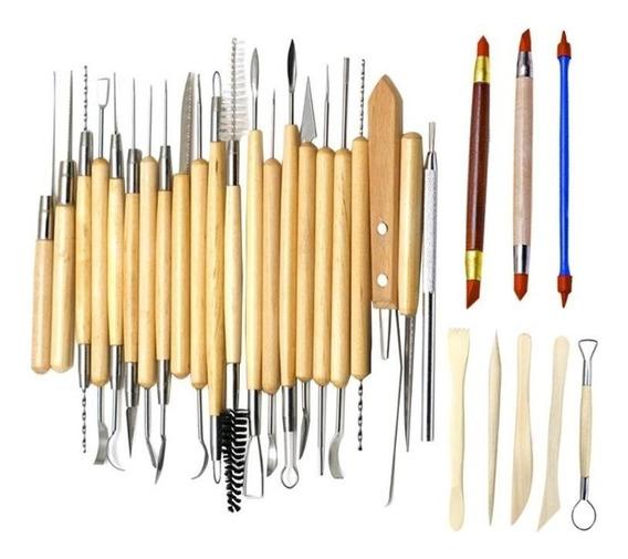 Kit 30 Estecas Para Modelagem Esculturas Argila Clay