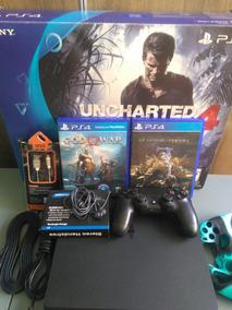 Playstation 4 Ps4 Slim 500gb Controle + Jogos + Bride Barato