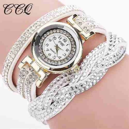 Relógio Feminino Promoção Strass Bracelete Couro Branco