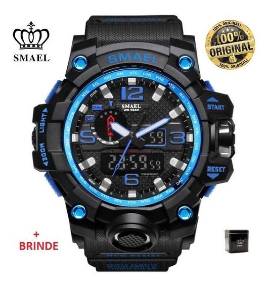 Relógio Esportivo G.chock Smael Mod1545 Pr/az Militar Tático