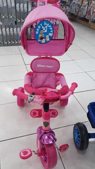 Triciclo Infantil 3 Em 1 Com Capota E Pedal Be Happy