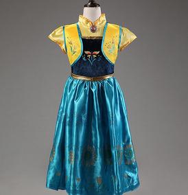 Vestido Fantasia Infantil - Anna - Frozen - Luxo - Fever