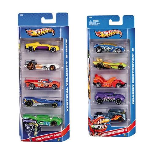 Kit 5 Carros Colecionáveis Sortidos Hot Wheels Mattel