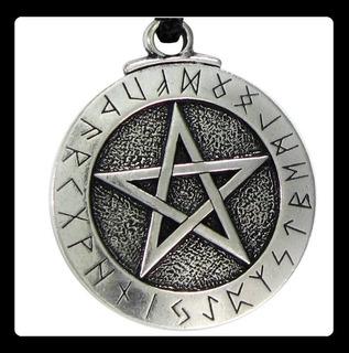 Collar Dije Pentagrama Runas Cadena Estrella Wicca Magia