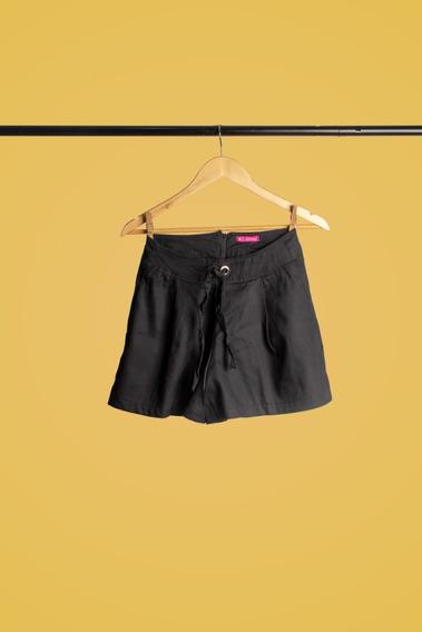 Shorts Feminino Com Laço Lateral Preto