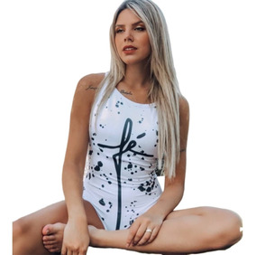 Body Feminino Maiô Cavado Regata Estampado/collant Ref 79k34