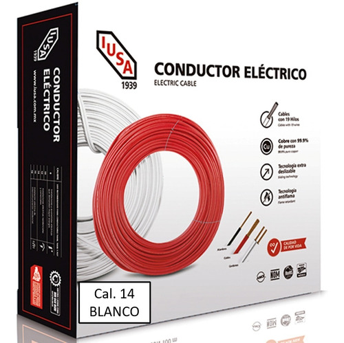Caja 100 Mts Cable Iusa Blanco Thw Cal 14 Awg 100%cobre