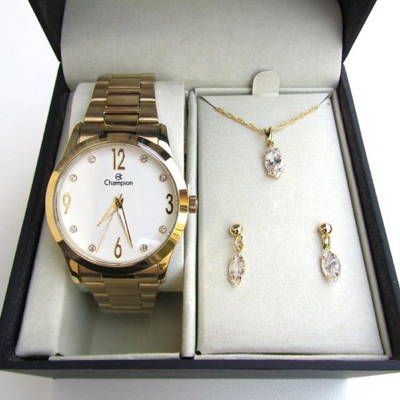 Relógio Champion Feminino Cn29061w Kit Presente 3 Peças