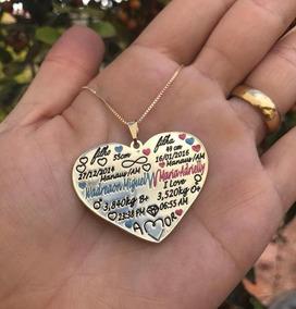 Colar Placa Filhos Personalizada Coração Sob Encomenda