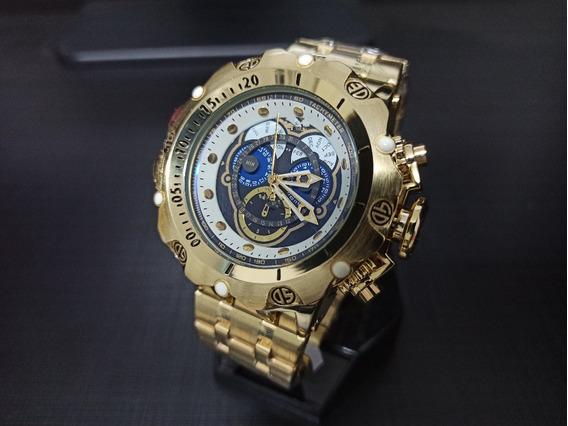 Relógio Dourado De Pulso Masculino Grande Dourado