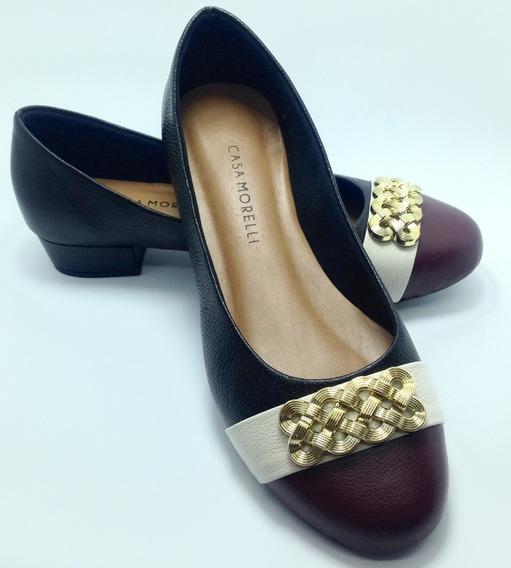 Sapato Feminino Em Couro Saltinho Preta Sucesso 25291