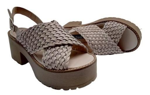 Zapato Sandalia Cuero Vacuno Base Plataforma Primavera 2443