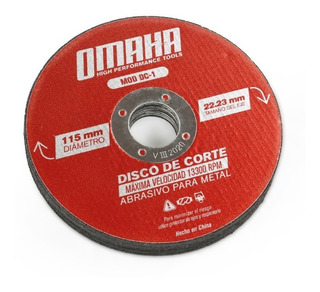 Disco De Corte 115 X 1 Mm 10 Uni Metales Omaha P/ Amoladora