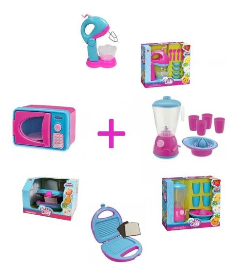 Kit 4 Brinquedos De Cozinha Infantil Menina Criança Brincar