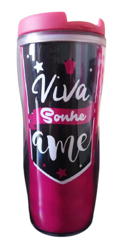 Imagem 1 de 1 de Copo Térmico Feminino Pink 350ml - Viva, Sonhe, Ame