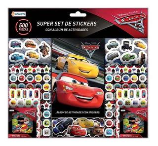 Cars Super Set De 500 Stickers + Album De Actividades