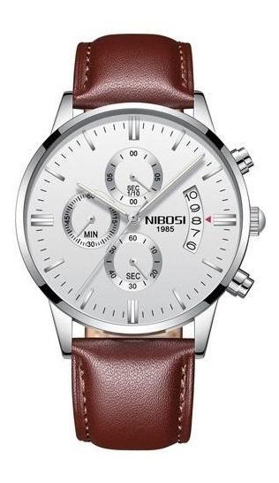 Relógio Masculino Casual Nibosi M2309-1 Em Couro Preto