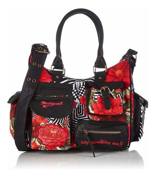 & Cartera Nueva Desigual London Flores Negro Rojo Con Envío