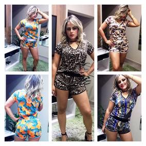 Conjunto Chocker Blusa Shorts Roupas Femininas Verão 2018