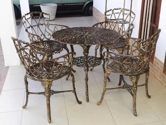 4 Cadeiras 1 Mesa Alta Viena Ouro Velho Jardim - Promoção