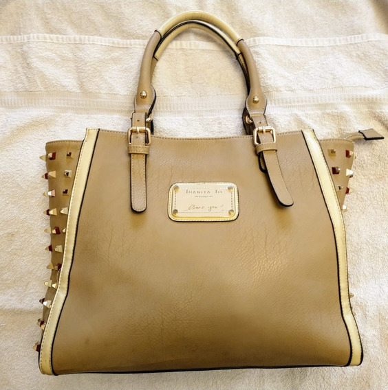 Cartera Juanita Jo Beige Tachas Impecable - No Jackie Smith