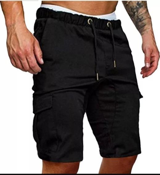 Bermuda Cargo Gabardina Hombre Short Cintura Con Elástico