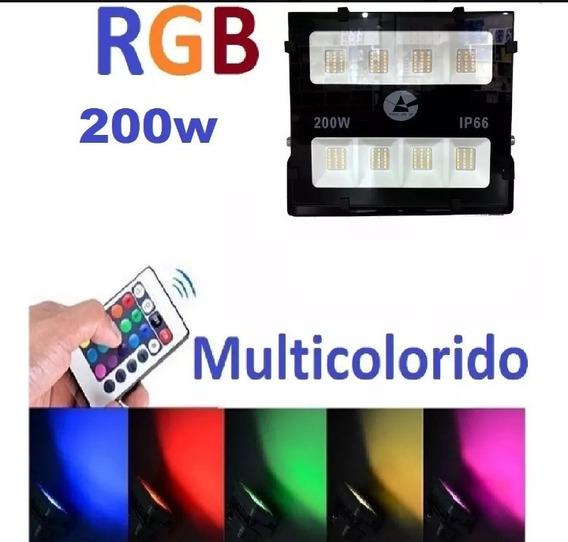 Kit 2 Refletor Led 200w Rgb Ip66 Cores Vivas Como Nunca Viu!