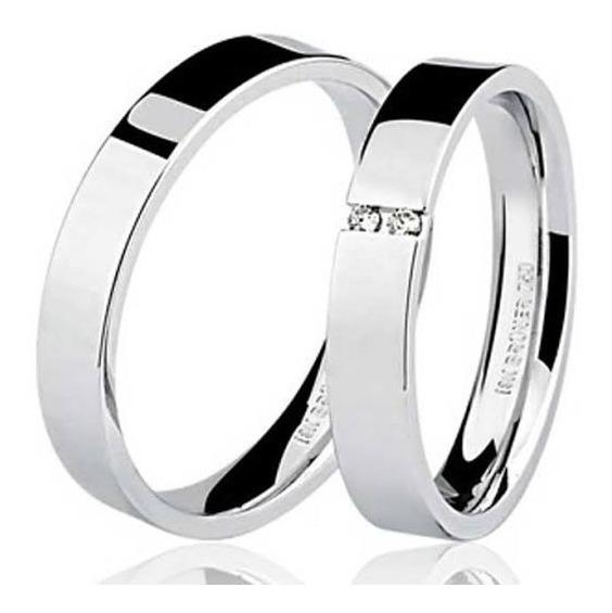 Alianças Ouro Branco 18k 3mm Com Diamantes Luxo Total