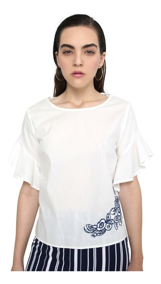 Blusa Mujer Manga Corta Cuello Redondo Color Blanco Lob