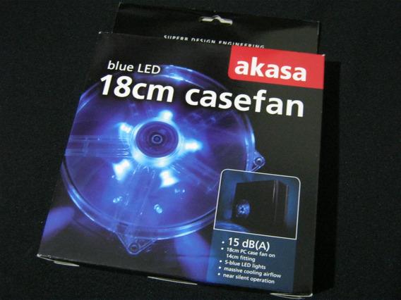 Micro Ventilador 180x180x25mm Fan 12v C/ Iluminação Led Azul