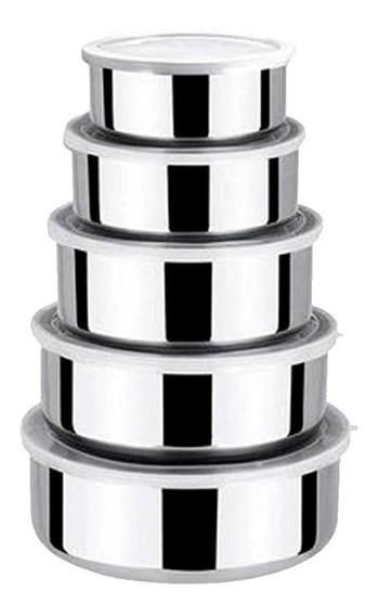 Conjunto De Potes E Tigelas Inox C/ Tampas 5 Peças