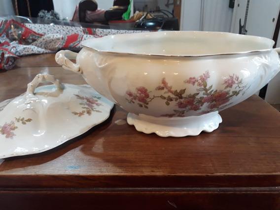 Guisera Sopera En Porcelana Sellada Inglesa Antigua
